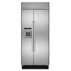 KITCHENAID20.8 cu ft 36-Inch Width Built-In Side-by-Side Refrigerator with PrintShield Finish - Stainless Steel