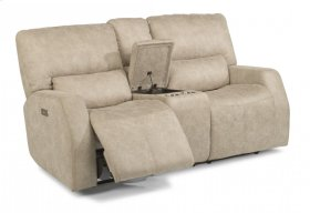 Cooper Fabric Power Reclining Loveseat with Console and Power Headrests