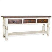 White Painted/Walnut 3 Drawer Console