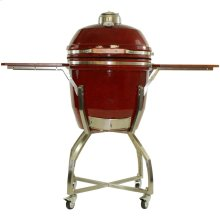 """Heat 19"""" Ceramic Kamado Grill with Cart, Shelves and Access. Package"""