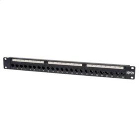 24-Port 1U Rack-Mount Cat5e Feedthrough Patch Panel, RJ45 Ethernet, TAA