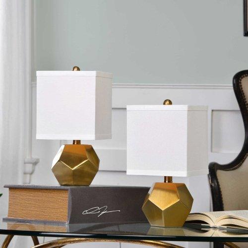 Pentagon Cubes Accent Lamps, S/2