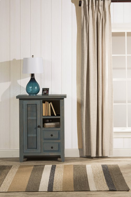 Tuscan Retreat® Coffee Cabinet - Metal Runner - Nordic Blue