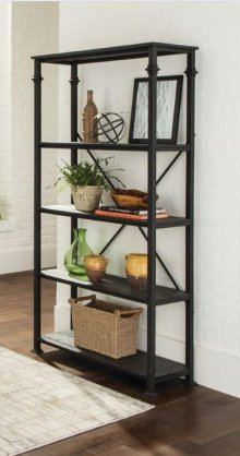 "- Bookcase with four shelves finished in dark grey and frame finished in black- Constructed with steel, MDF, and ash veneer- Also available in 48""W (#801440)"