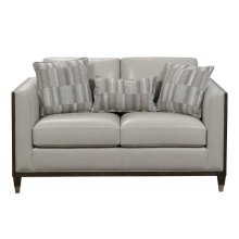 Addison Leather Loveseat with Wooden Base in Frost Grey