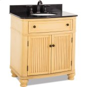 """32"""" vanity with buttercream finish with antique crackle and simple bead board doors and curved shape with preassembled top and bowl."""
