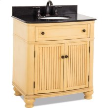 """32"""" vanity with antique crackledd Buttercream finish, simple bead board doors, and curved shape with preassembled top and bowl."""