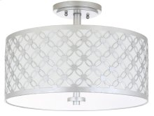 Hutch 3 Light 16-inch Dia Silver Flush Mount - Silver Shade Color: Off-White