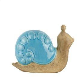 "Ceramic Snail W/ Teal Shell 10.25"""