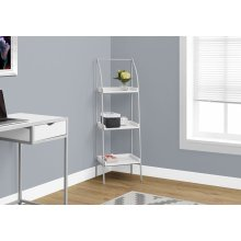 "BOOKCASE - 48""H / WHITE / SILVER METAL"