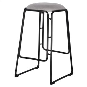 Oasis PU Metal Counter Stool with Black Legs, Vintage Mist Gray