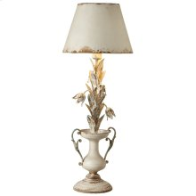 Distressed Ivory Flower with Urn Table Lamp. 60W Max.