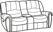 Downtown Fabric Gliding Reclining Loveseat with Console Product Image