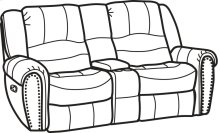 Downtown Fabric Gliding Reclining Loveseat with Console