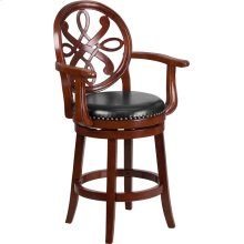 26'' High Cherry Wood Counter Height Stool with Arms, Carved Back and Black Leather Swivel Seat