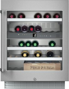 """Wine climate cabinet RW 404 761 Under-counter, stainless steel-framed glass door Width 23 5/8"""" (60 cm)"""