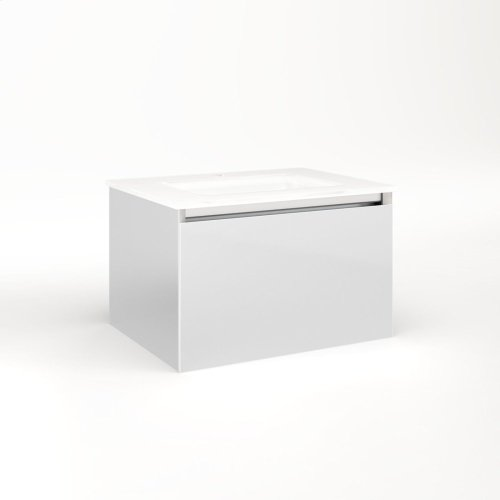 """Cartesian 24-1/8"""" X 15"""" X 18-3/4"""" Single Drawer Vanity In Satin White With Slow-close Plumbing Drawer and No Night Light"""