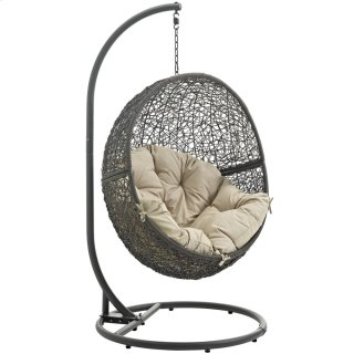 Hide Outdoor Patio Swing Chair With Stand in Gray Beige
