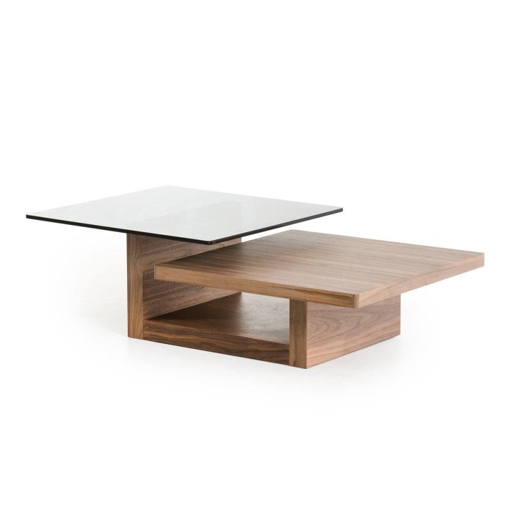 Modrest Echelon Modern Walnut and Smoked Glass Coffee Table