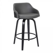 """Alec Contemporary 30"""" Bar Height Swivel Barstool in Black Brush Wood Finish and Grey Faux Leather Product Image"""