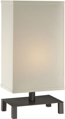 Table Lamp, D.BRONZE/OFF-WHITE Fabric Shade, E27 Cfl 13w