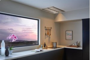 VIEW ALL IMAGES / AWARD WINNING DESIGN -SAVE BIG! /  OVERSTOCK CIRRUS - CC34E6SB - Brushed Stainless Steel Ceiling Mounted Range Hood / OPTIONAL BLOWERS AVAILABLE FOR IN-LINE OR EXTERNAL APPLICATIONS/ 900 TO 1500 CFM...