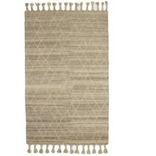 Natural Kilim 5'x8' Rug with Geo Top Stitch and Braided Tassels.
