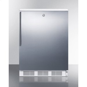 SummitCommercially Listed Freestanding All-refrigerator for General Purpose Use, Auto Defrost W/lock, Ss Wrapped Door, Thin Handle, and White Cabinet