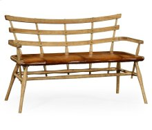 Natural Oak Bench for Studded Leather Seat
