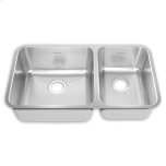 American StandardPrevoir Stainless Steel Undermount 32-7/8 Inch by 18-3/4 Inch 2-Bowl Combo Kitchen Sink - Brushed Stainless Steel