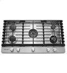 "KitchenAid® 36"" 5-Burner Gas Cooktop with Griddle - Stainless Steel Product Image"