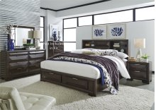 King Storage Bed, Dresser & Mirror, NS