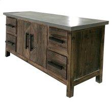 Venezio Sideboard 4 Drawers + 2 Doors w/ Faux Cement Top, Rustic Brown