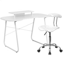 White Computer Desk with Monitor Platform and Tractor Chair