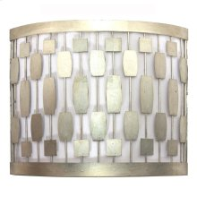 Silver Leaf Mid Century Motif Sconce With White Inner Shade