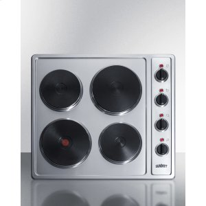 230v 4-burner Electric Cooktop In Stainless Steel With Solid Disk Cast Iron Elements, 5500w -