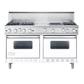 "White 60"" Open Burner Commercial Depth Range - VGRC (60"" wide, six burners 12"" wide griddle/simmer plate 12"" wide char-grill)"