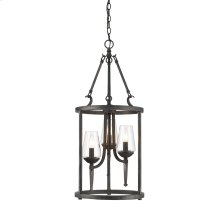 Marcellis 3 Light Pendant in Dark Natural Iron with Clear Glass