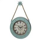 Aqua Compass Clock with Ship Wheel Hook. Product Image
