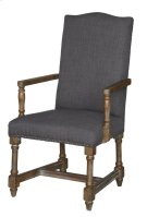 Grayson Rustic Wood and Grey Linen Arm Chair Product Image