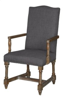 Grayson Rustic Wood and Grey Linen Arm Chair