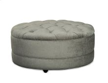 Round Tufted Cocktail Ottoman on Casters