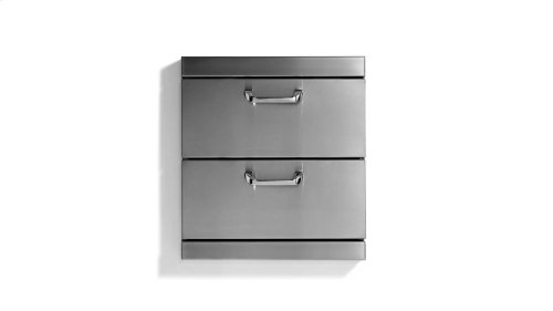 "Utility Drawers - Two Extra large drawers w/ 5"" offset handles."