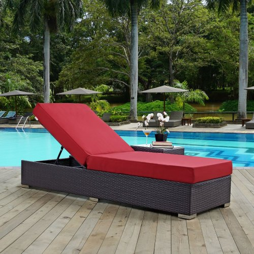 Convene Outdoor Patio Chaise Lounge in Espresso Red
