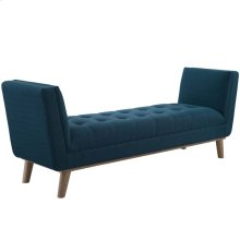 Haven Tufted Button Upholstered Fabric Accent Bench in Azure