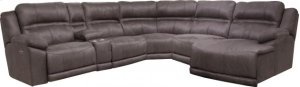 CATNAPPER 215 Braxton Charcoal 6-Piece Sectional With Left Arm Facing Power Headrest Recliner, Console, Armless Recliner, Wedge, Armless Chair and Right Arm Facing Chaise