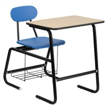 HERCULES Series Black Frame Student Combo Desk with Blue Chair, Natural Laminate Top and Book Rack
