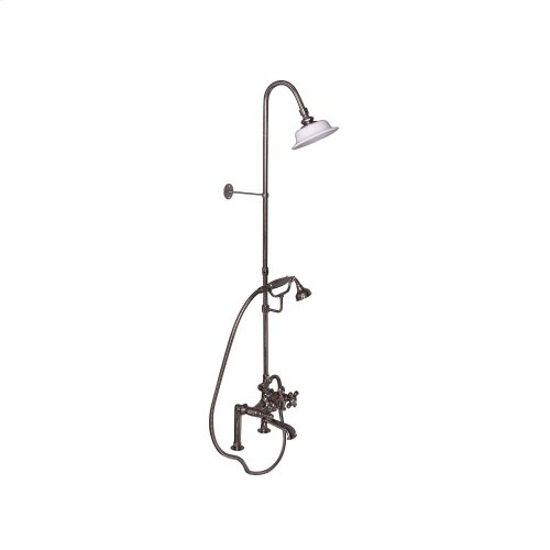 Tub Filler with Diverter Hand-Held Shower and Riser - Metal Cross Handles - Polished Nickel