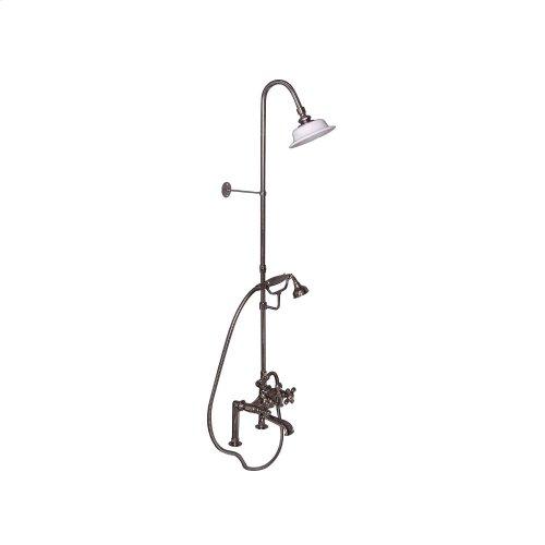Tub Filler with Diverter Hand-Held Shower and Riser - Metal Cross Handles - Polished Nickel