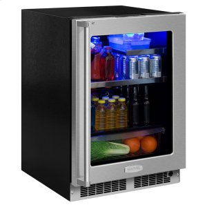 Marvel24-In Professional Built-In Beverage Refrigerator with Door Style - Stainless Steel Frame Glass, Door Swing - Right